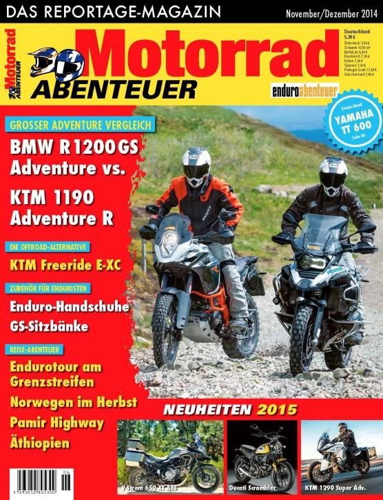 MotorradABENTEUER November/Dezember 2014 gedruckte Ausgabe